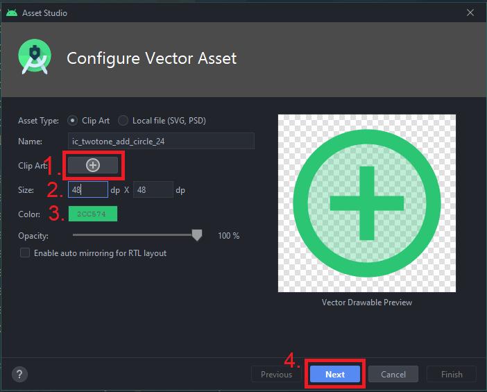 Configure Vector Asset