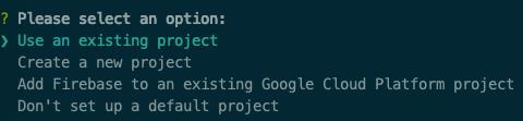 เลือก firebase project ที่ต้องการ